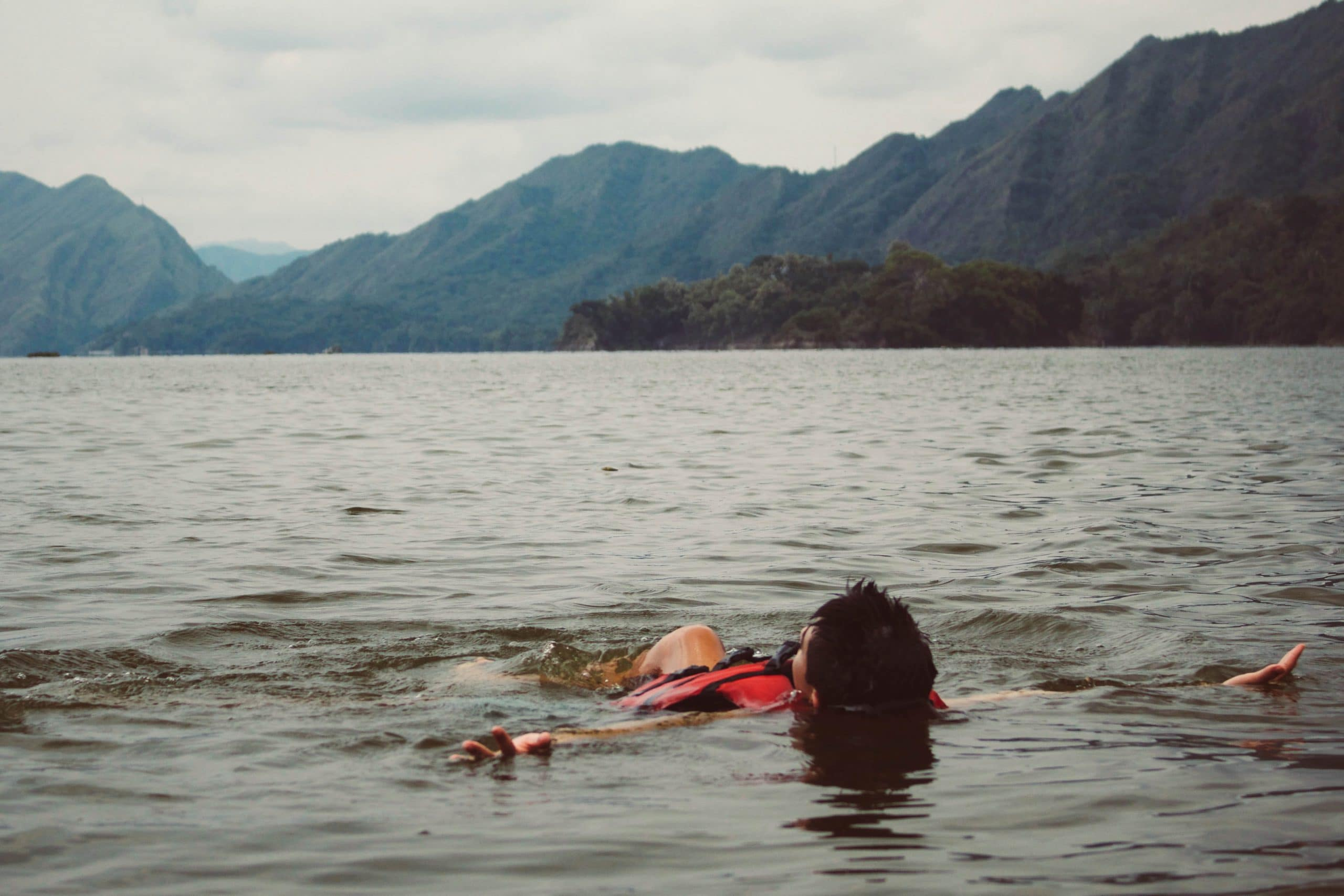 Swimmer swimming in a lake