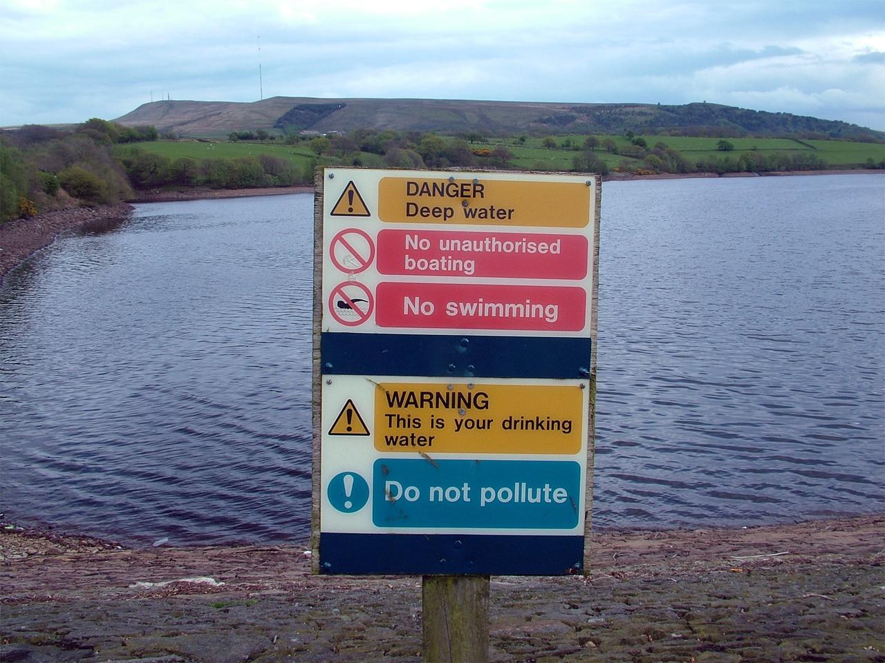 No Swimming In Lake Sign