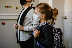 Kids With Masks Ready to Go To School