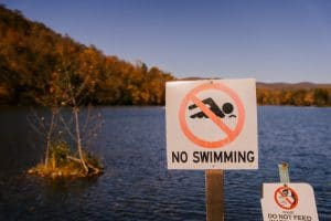 Sign That Shows No Open Water Swimming Is Allowed