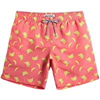 Pink Swim Trunks For Men With Yellow Bananas