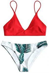 Red and White Women's Swimwear