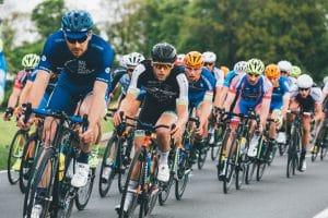 Men Riding Bikes In Race